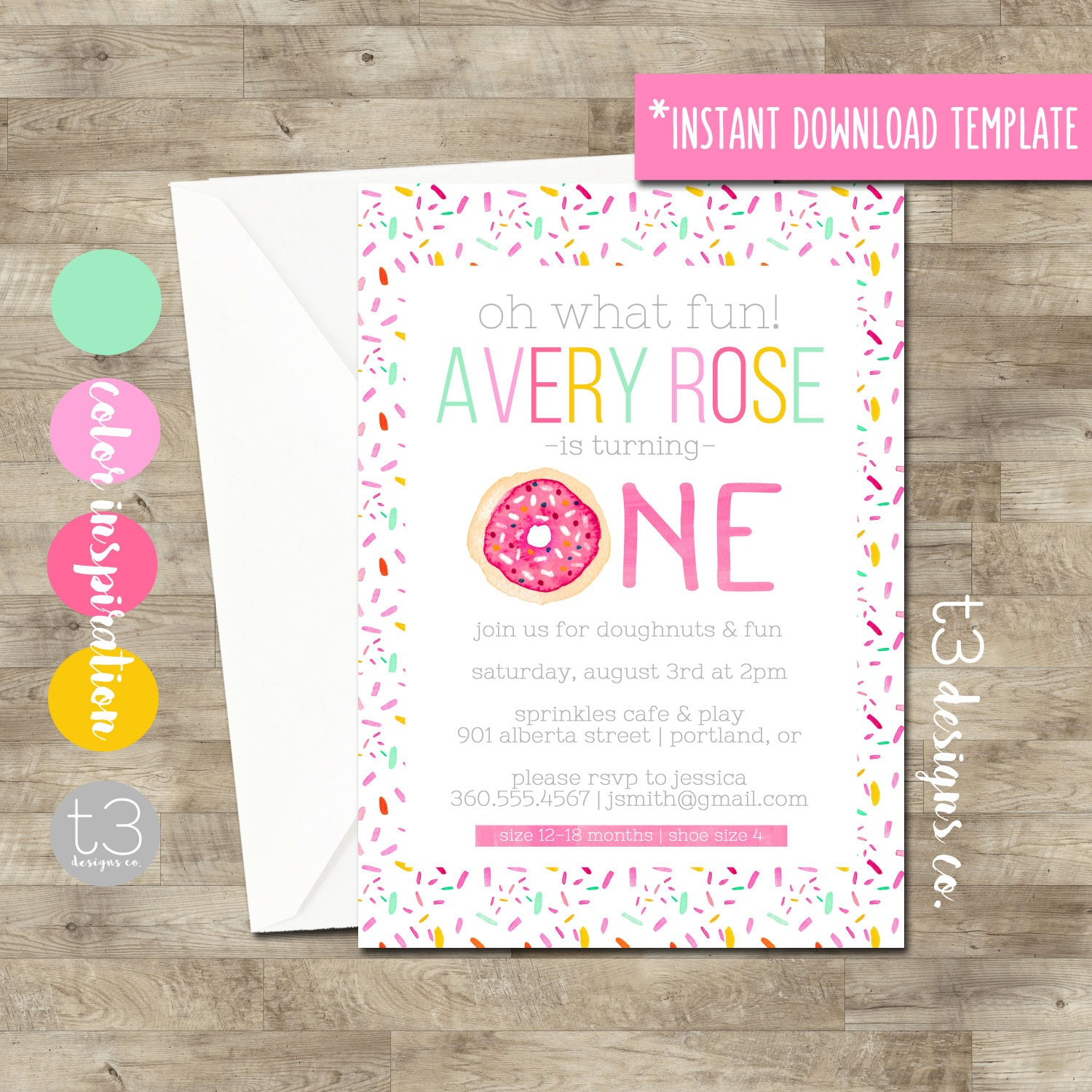 Instant Download Donut birthday invitation, girl birthday invitation ...