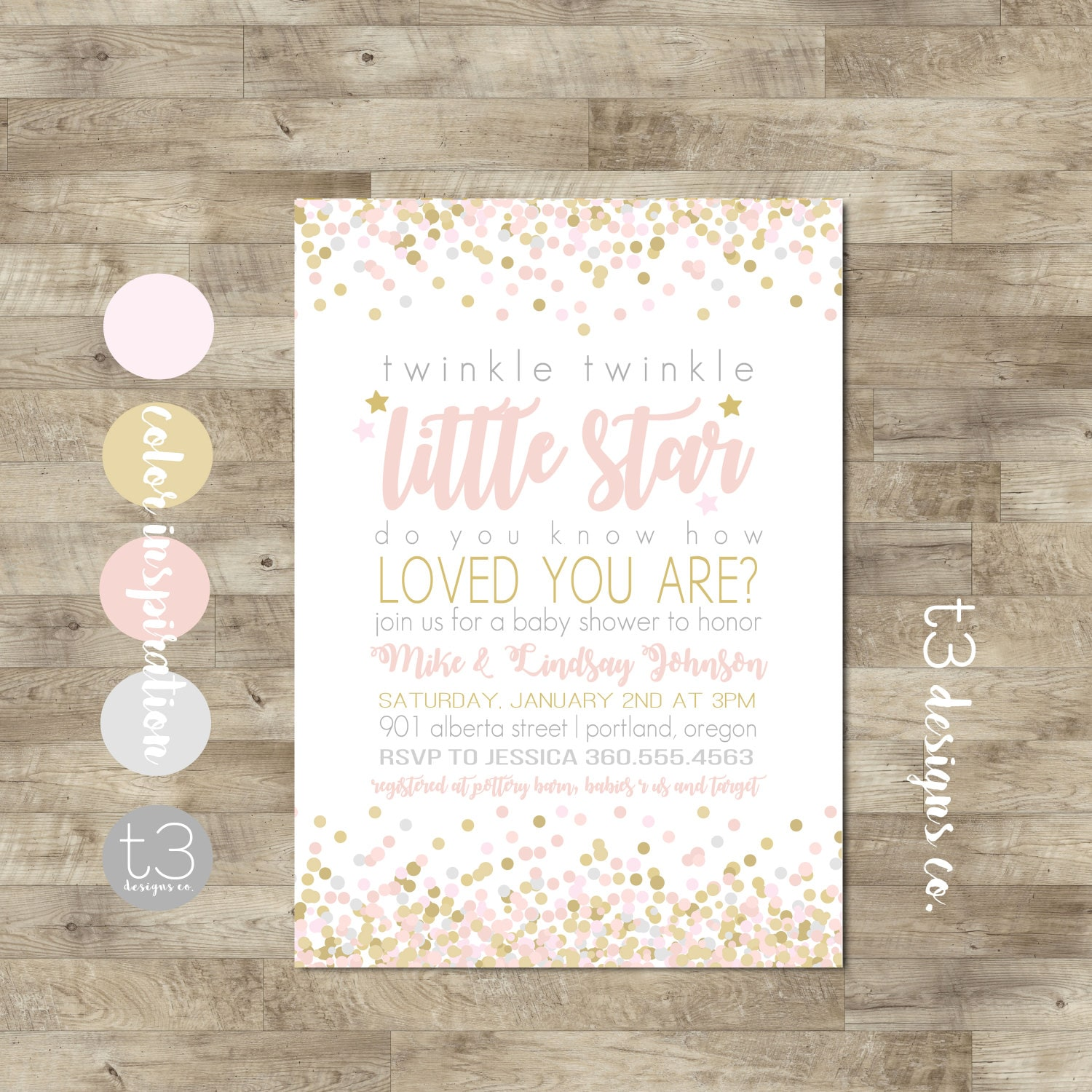 Twinkle Twinkle Little Star Baby Shower Invitation, Twinkle Girl Baby Shower,  Little Star Baby Shower Invite, Pink And Gold, Girl, T9