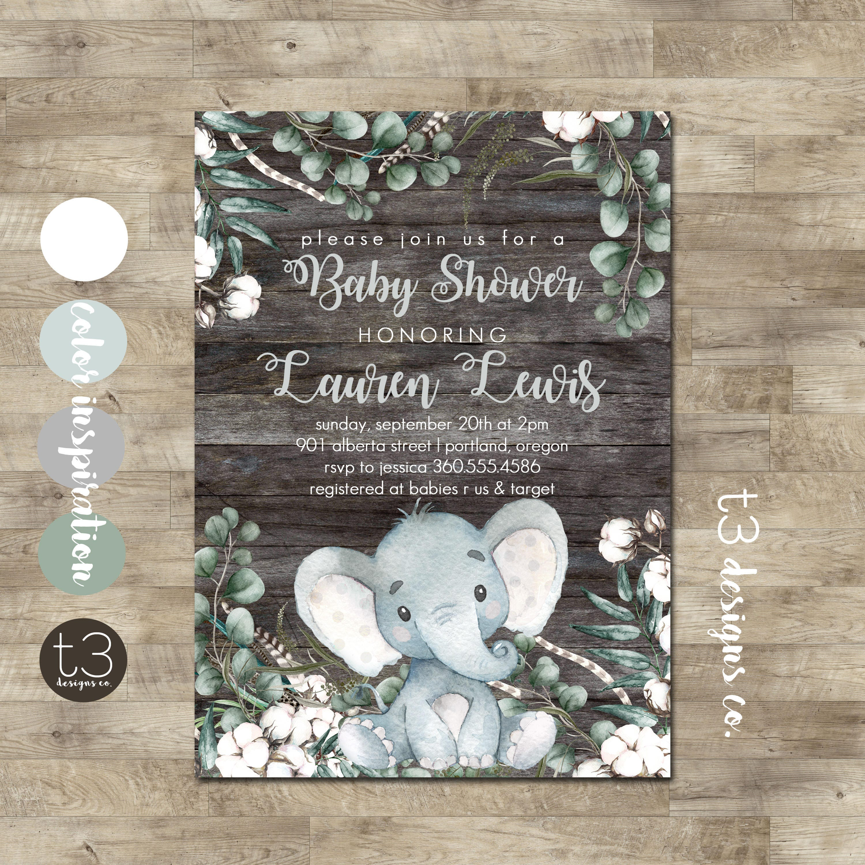 Elephant Baby Shower Invitation, Rustic Gender Neutral Baby Shower ...