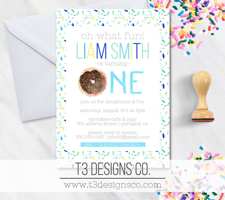 Donut birthday invitation, boy birthday invitation, donut doughnut ...