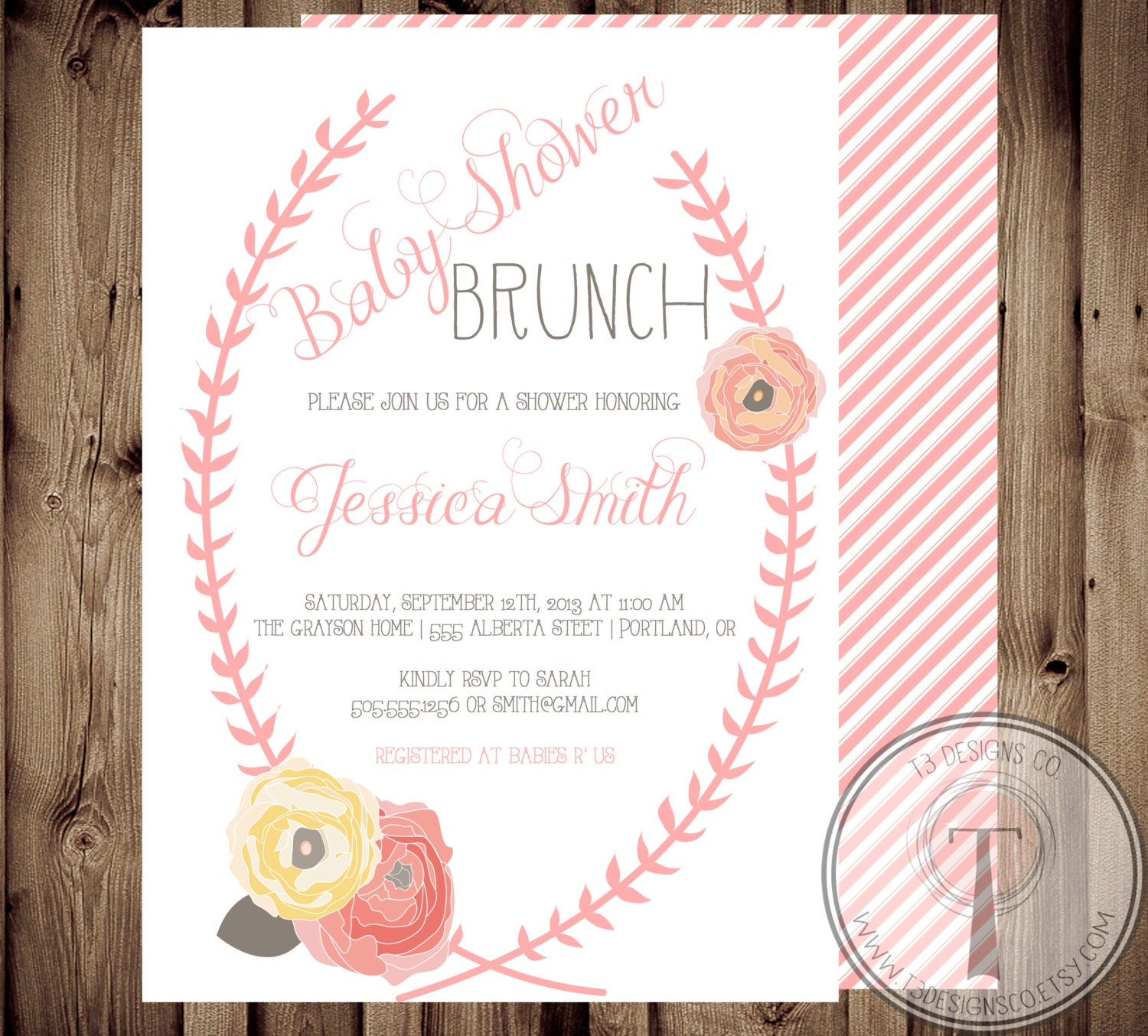 Baby Shower Invitation BABY GIRL Floral Shabby Chic Baby
