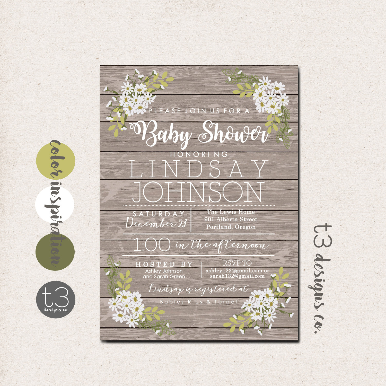 Rustic Daisy Baby Shower Invitation, Gender Neutral Baby Shower ...