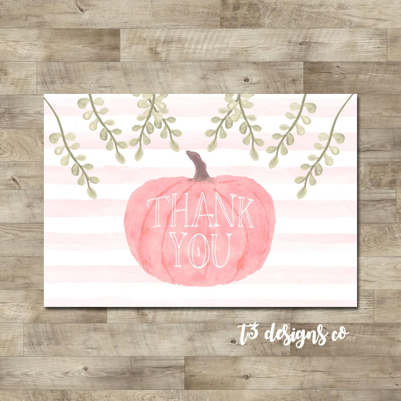 Little Pumpkin Thank You Card Pink Pumpkin Thank You Watercolor