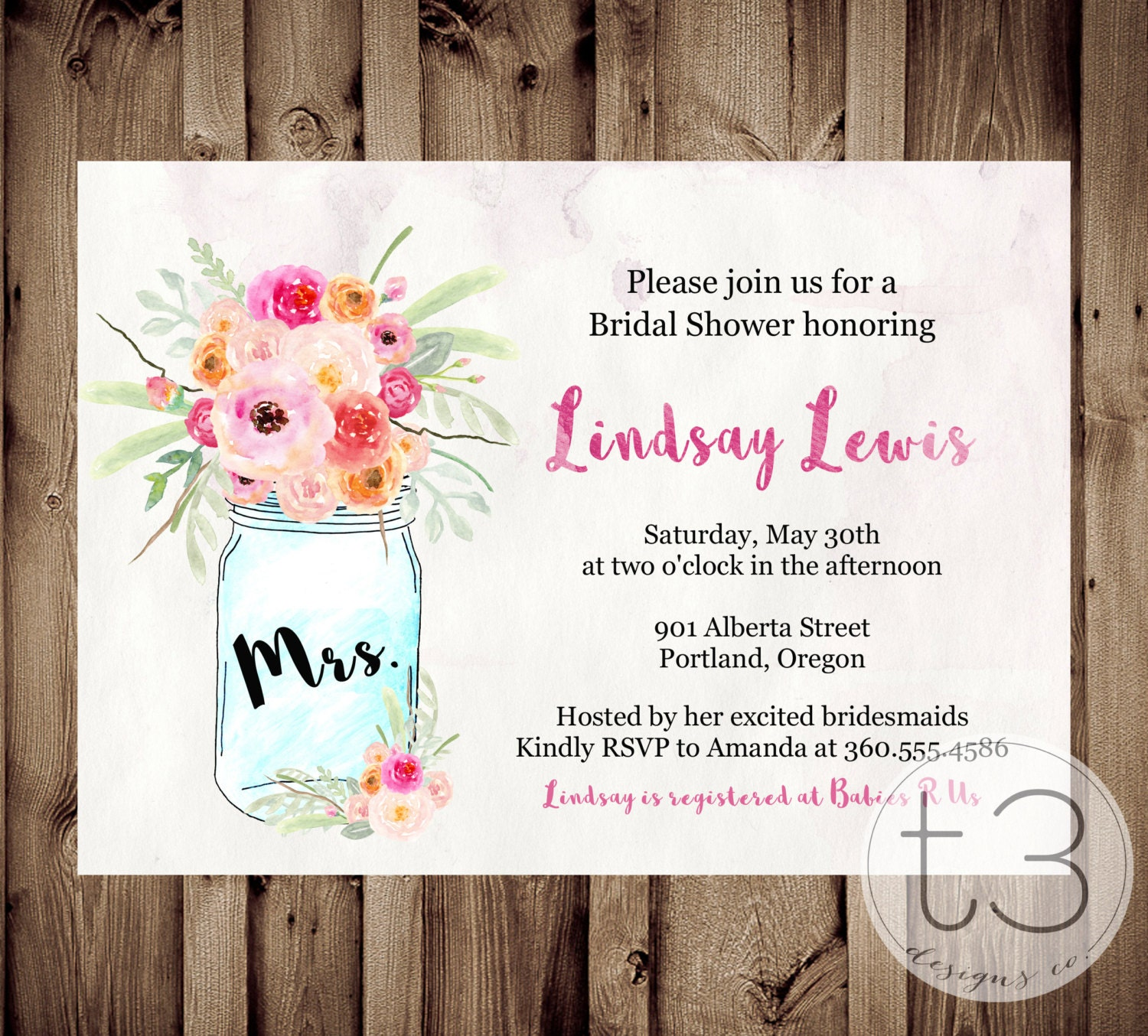watercolor mason jar invitation bridal shower invitation wedding shower mason jars whimsical bridal shower invite invitation