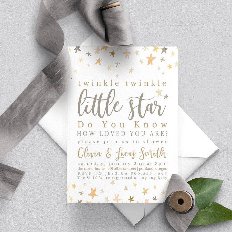 Twinkle Twinkle Little Star Baby Shower Invitation Rustic image 0