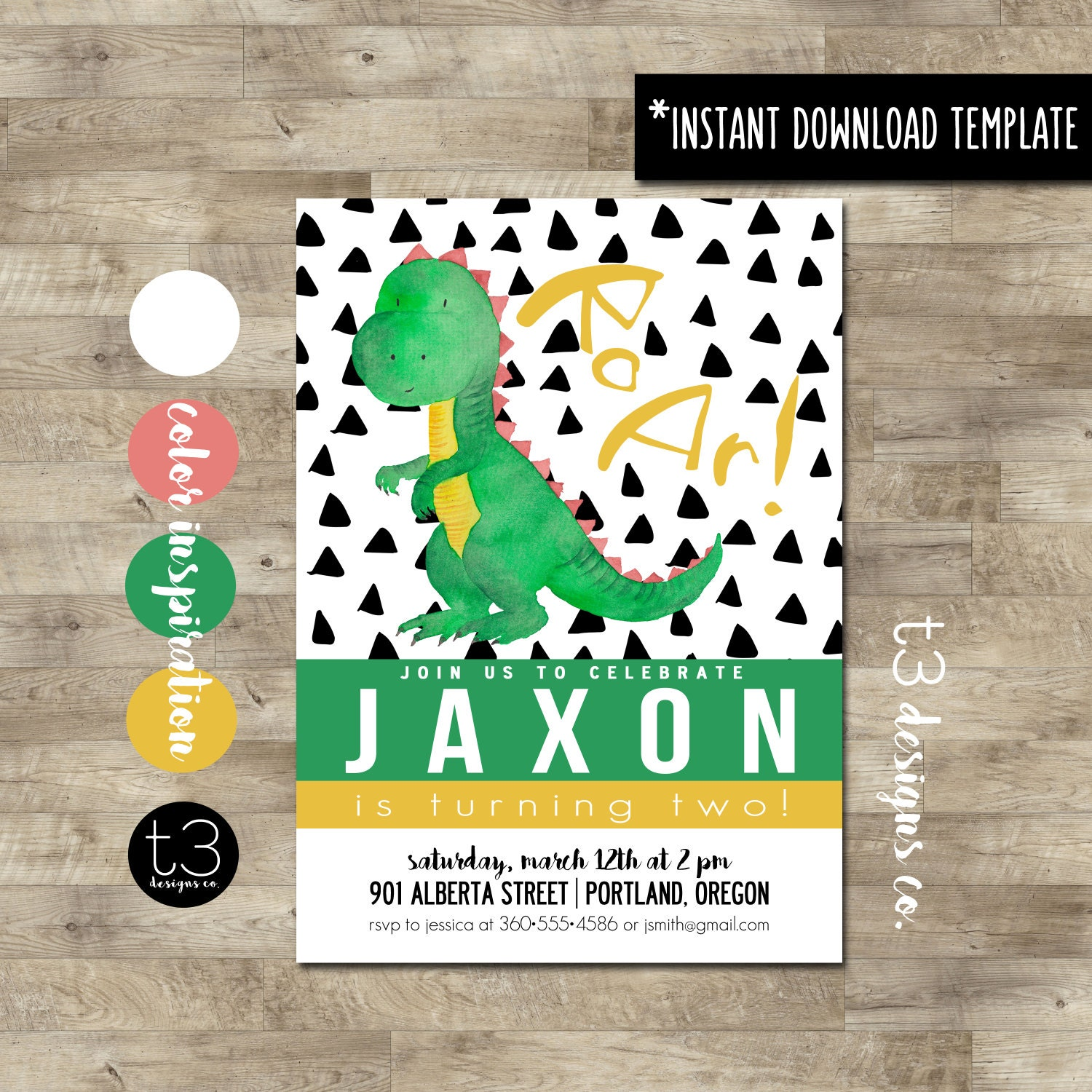 Instant Download Dinosaur Birthday Invitation