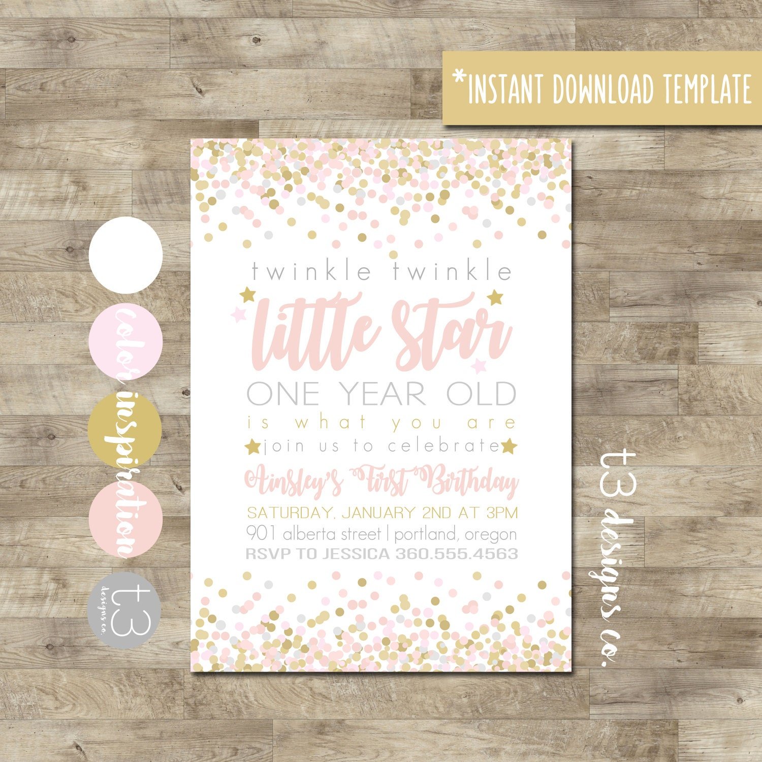 Instant Download Twinkle Twinkle Little Star First Birthday