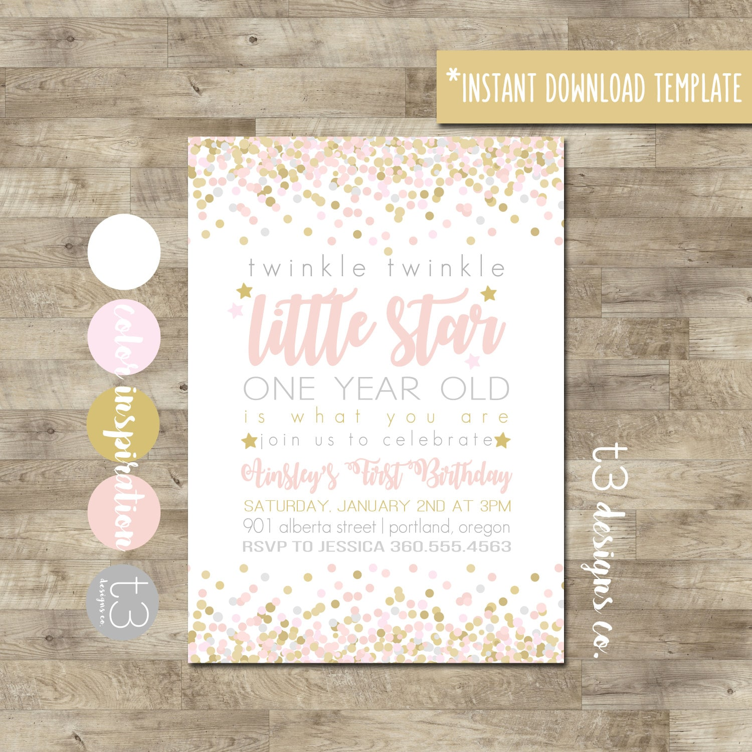 Instant Download Twinkle Twinkle Little Star First Birthday | Etsy
