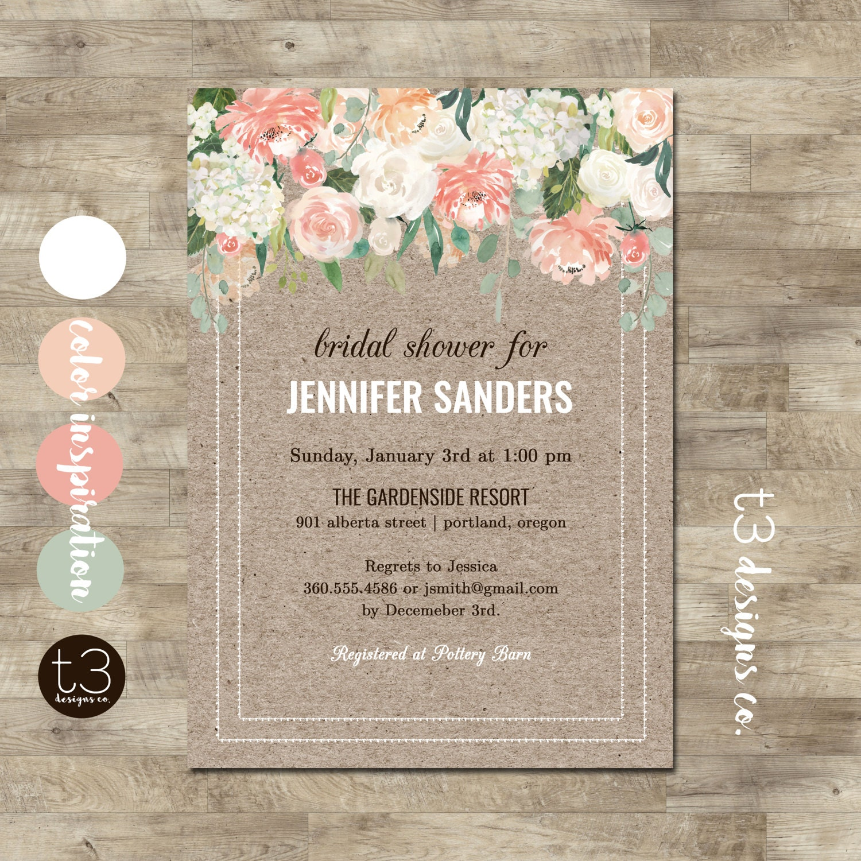 Rustic Bridal Shower Invitation Elegant Floral Bridal Shower Invitation