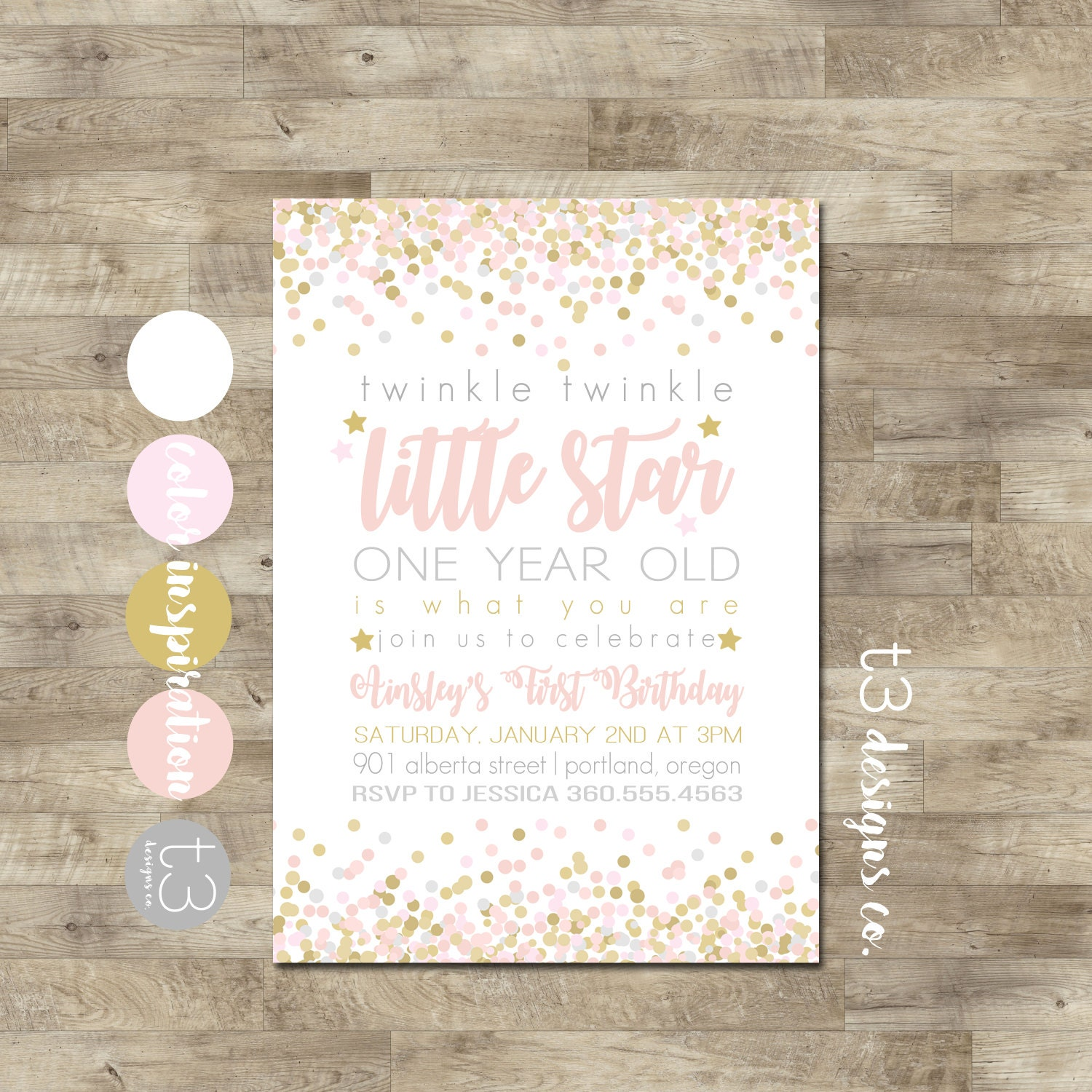 Twinkle Twinkle Little Star First Birthday Invitation, girl first ...