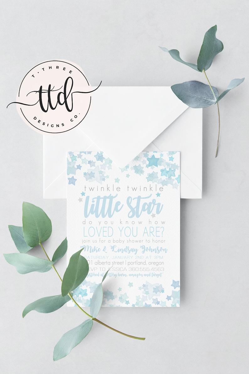 Boy Twinkle Twinkle Little Star Baby Shower Invitation boy image 0