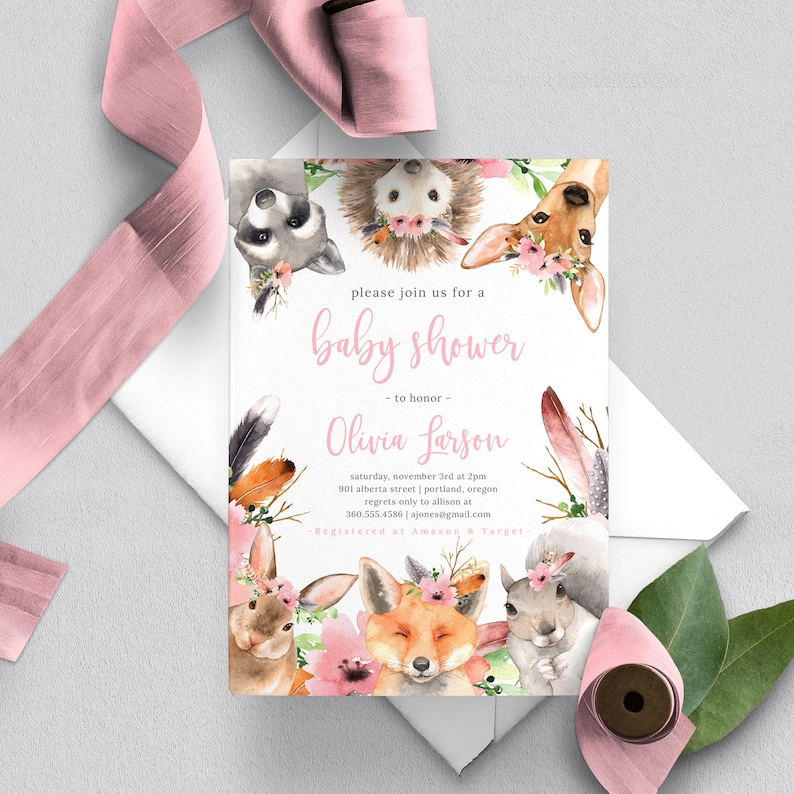 Woodland Baby Shower Invitation Girl Floral Woodland Animals image 0