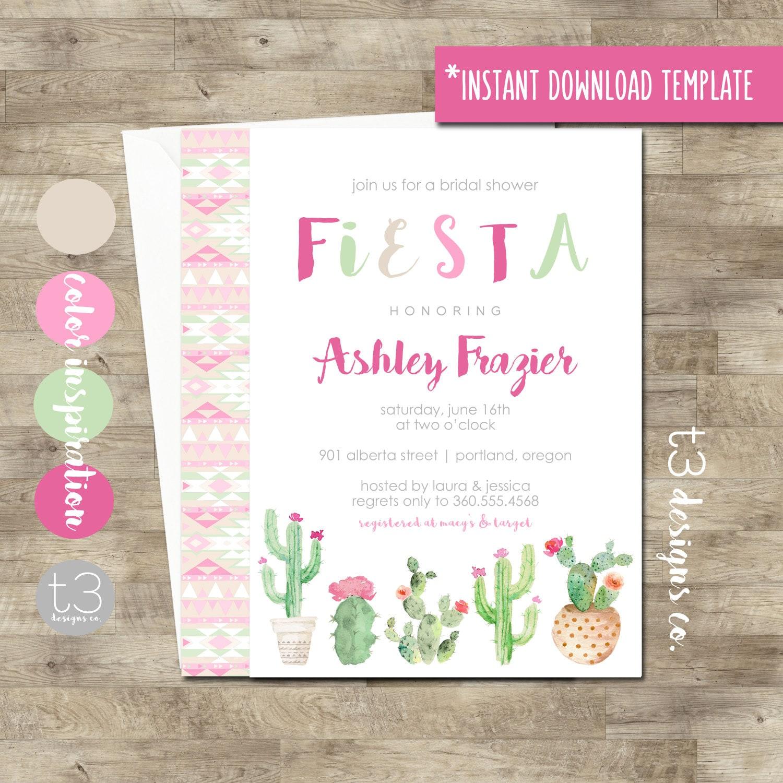 instant download fiesta bridal shower invitation diy pdf cactus invitation wedding shower invite bridal shower fiesta invitation