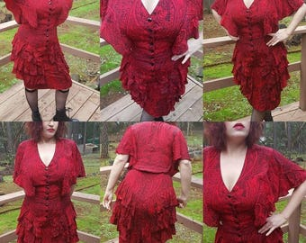 Beautiful Red Paisley Rayon Dress