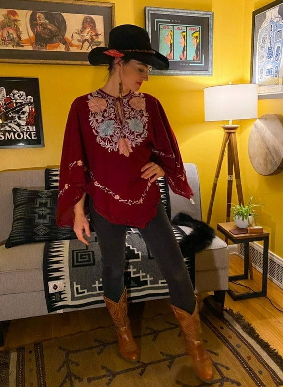 Maroon Wool Embroidered Poncho