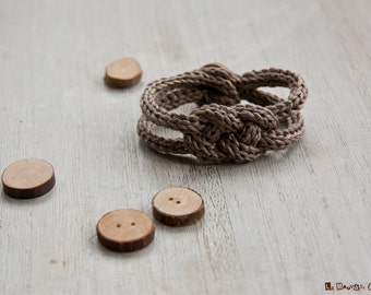 French knitted linen bracelet - dark linen - with wood button