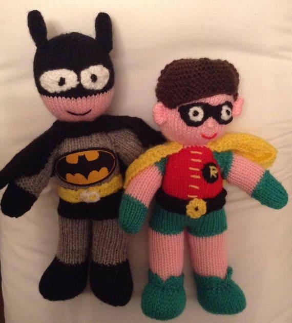 Batman Robin Toy Knitting Pattern By Elaine Munn Etsy