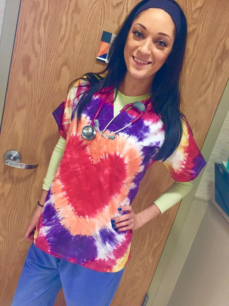 a7a9f4fabc3 Nurse's scrub top Valentine's day gift tie dye | Etsy