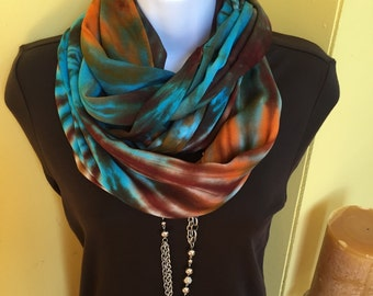 Tye dye scarf, infinity scarf, hand dyed infinity scarf, Circle scarf,  rayon scarf, fall color scarf
