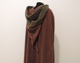 Ready to ship ! Night Shadow Long hooded cloak in chocolate/olive green