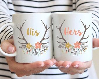 Personalisierte Hochzeit Tassen - Braut und Bräutigam-Geschenk - Braut Tassen - Hochzeit paar Tassen - Geschenke für Bräute - Geschenke für Bräutigam - Sommer-Geweih