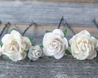 Flower Hair Pins Wedding Pins Bobby Pins set of 7