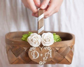 Flower girl Wedding Basket Rustic Woodland Wedding Personalized Basket