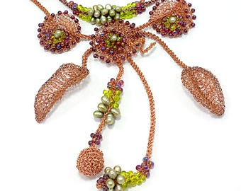 Wire Crochet BIB Necklace, Two strand fantasy Floral & leaves, Finalist on Metal Contest on FMG and Beads