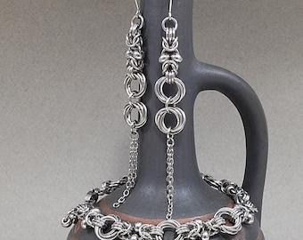 Byzantine weave Stainless Steel Earrings, Metal Chain maile with beads, Custom jewelry