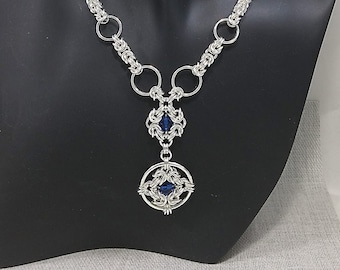 Chainmail Byzantine Weave with Blue Crystal beads, Y-Neckalce , silver plated