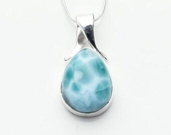 Lenamar Larimar Pendant Optional Silver Chain 100/% Handcrafted Larimar Jewelry Teardrop Blue Larimar Dominican Republic