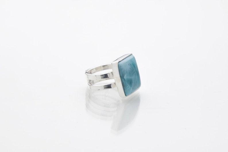 Larimar Square Ring Larimar Stone Jewelry Always Worldwide Express Shipping Women/'s Ring Size 7.25 Robin