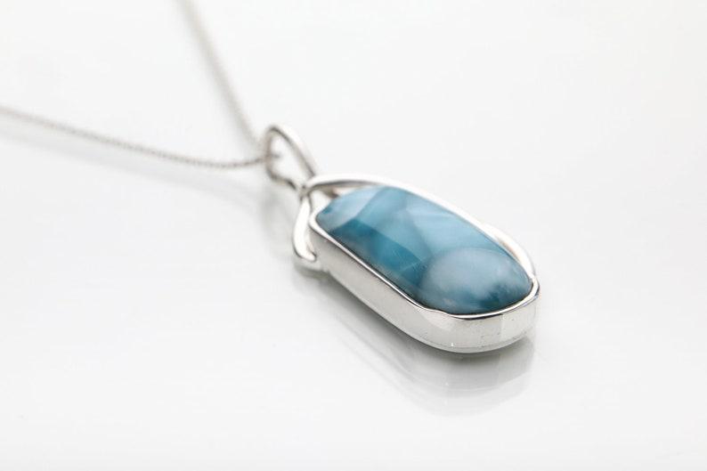 Certified Larimar Stones Kune 100/% Handmade in the Dominican Republic Larimar pendant Optional Silver Chain,