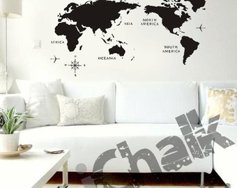 Blackboard world map etsy a map of the world chalkboard sticker wall decal for home or office modern chalk blackboard world map chalkboard gumiabroncs Image collections