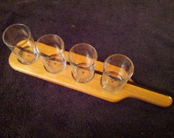 Beer Dessert Flight Paddle Ash Wood Ith Glasses Etsy