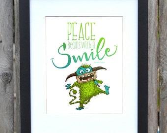 Smile for Peace   Aqua Green little creature   Print