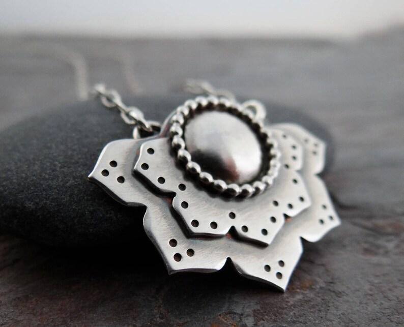 Lotus Flower Pendant  sterling silver flower  modern zen image 0