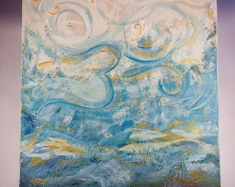 "Om Tranquility Acrylic Painting on 8""x8"" Raised Wood Panel"