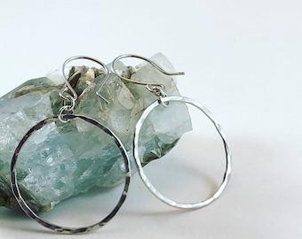 """Simple Sterling Silver Circle """"Hoop"""" Dangle Earrings"""