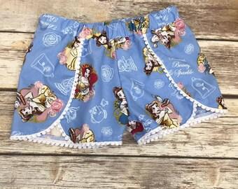 Disney Shorts, Belle Shorts, Beauty and the Beast Shorts, Toddler shorts