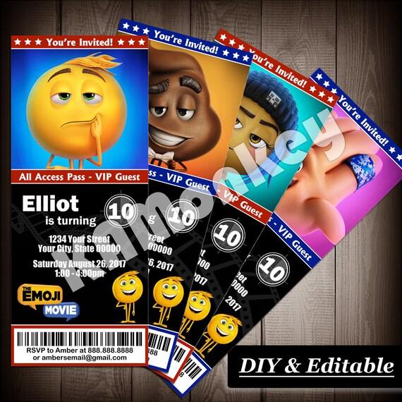 The Emoji Movie Ticket Invitations Birthday Party DIY