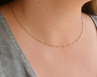 Gold Necklace,Simple Necklace,Dainty Necklace,Satellite Chain Necklace,Everyday Jewelry,Minimalist Gold Necklace,Layering necklace -21186/N