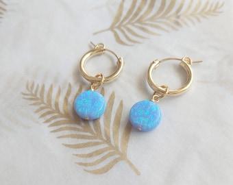 Opal Earrings, Opal Hoops,Blue Opal Earrings, Gold Hoop Earrings,Dangle Opal Earrings,Large Hoop Earrings,Opal Jewelry, Fire Opal Earrings