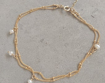 Pearl anklet, Dainty Freshwater Pearl, Ankle Bracelet, Double Pearl Ankle Bracelet, Summer Anklet, White Pearl Anklet, Gold Filled
