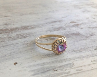 Crystal ring, Gold ring, stacking ring, jewelry ring, stackble ring, crystal thin ring, stackble gold ring, light purple, stone ring LP1