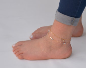 Opal Anklet,Ankle bracelet,Opal Jewelry,Gold Anklet,Beach Anklet,Dainty Anklet,Gift for Her-21243