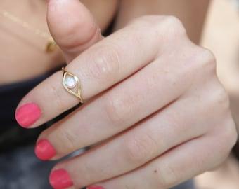 Evil eye ring, gold ring, stacking ring, eye, evil eye jewelry, opal stone, ethnic jewlery,10028