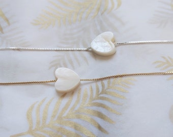 Heart Necklace, Shell Heart Necklace, Dainty Necklace, Love Necklace, White Shell Heart Necklace, Gift for Her