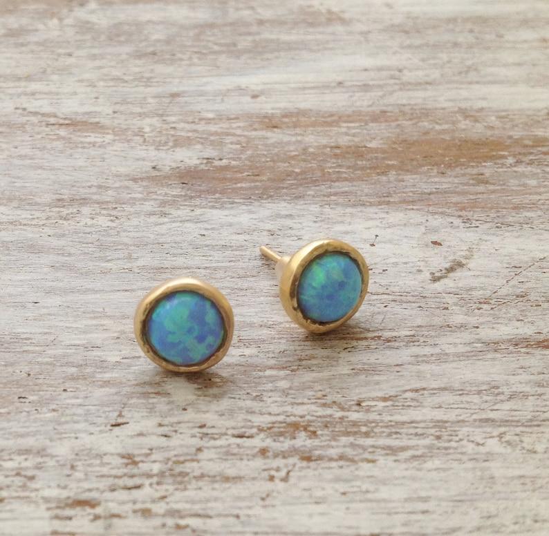 earrings opal gold opal earrings stud earrings opal stud image 0