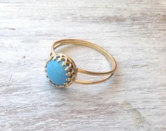 Gold ring, Turquoise ring, stacking ring, vintage ring, stack ring, stack gold ring, Blue ring, classic ring214